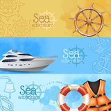 Sea Adventure Banners Set Royalty Free Stock Images