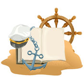 Sea Adventure. Open book, anchor, captain cap and wheel lying on sand Stock Image