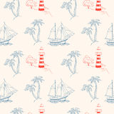 Sea adventure. seamless pattern Stock Photos