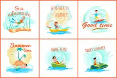 Sea Adventure and Summer Set Vector Illustration royalty free illustration