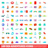 100 sea adventures icons set, cartoon style. 100 sea adventures icons set in cartoon style for any design vector illustration Royalty Free Stock Photo