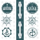 Sea Adventures with rope elements anchor wheel round logo stock illustration