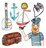 Sea adventures set - watercolor on white. Set of captain, bottle with message, treasures, ship and other elements of sea adventure royalty free illustration