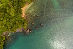 Free Sea Aerial Top View, Beautiful Thailand Sea Nature Background With Copy Space. Sand Beach And Bright Blue Water, Drone Photo From Stock Image - 175225521