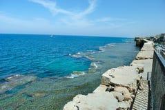 Sea in Akko (Acre), Israel Royalty Free Stock Photos
