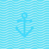 Sea anchor. Anchored on the waves. seamless. vector format Royalty Free Stock Photography