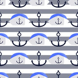 Sea anchor and cap. children s illustration Royalty Free Stock Images