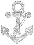 Sea anchor coloring vector for adults. Sea anchor coloring book vector illustration. Anti-stress coloring for adult. Zentangle style. Black and white lines. Lace vector illustration