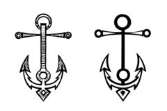 Sea anchor sketch. By hand-drawn and simplified set silhouette stock illustration