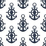 Sea anchors seamless pattern Royalty Free Stock Images