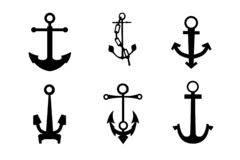 Sea anchors silhouette. Set, symbols or logo template isolate vector stock illustration