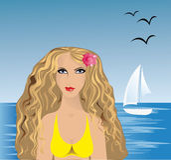 Sea And Girl Stock Photography