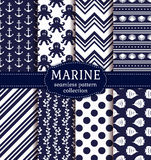 Sea And Nautical Seamless Patterns Set. Stock Photography
