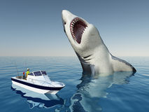 Sea Angler and the Megalodon Shark Royalty Free Stock Images