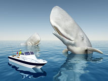 Sea angler and sperm whales Stock Photo
