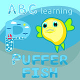 Sea animal alphabet Letter P Kids learning Funny puff fish vector Blowfish cartoon character Ocean animal Round shape fish Sea lif. Vector illustration of Sea Stock Images