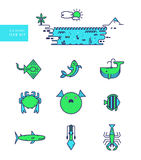 Sea animal icon set. Seafood. Outline modern design. Nature panorama and animal icon Royalty Free Stock Images