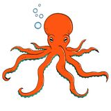 Sea animal, octopus. Inhabitant of the depths of the ocean. object on a white background vector. Sea animal, octopus. Inhabitant of the depths of the ocean Royalty Free Stock Image