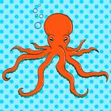 Sea animal, octopus. Inhabitant of the depths of the ocean. Pop art vector. The imitation of comic style. Sea animal, octopus. Inhabitant of the depths of the Royalty Free Stock Photos