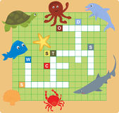 Sea animal puzzle (crossword) Royalty Free Stock Images