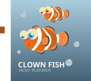 Sea animal series : cartoon cute Clown fish. Illustration about cute clwon fish in deep sea Stock Photo