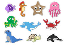 Sea Animal Stickers. This Illustration is given for Sea animals sticker Stock Image