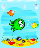 Sea animals. Vector drawing. Underwater World. Cartoon cute marine animals on the sandy bottom.At the heart of an octopus Stock Image
