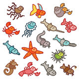 Sea animals. Vector color icons - sea animals Stock Image