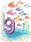 Sea Animals And Numbers Series For Kids ,9 Fish Royalty Free Stock Image