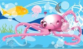 Sea animals background. Cartoon style illustration of sea animals swimming in blue ocean, fish, octopus and jellyfish Stock Photo
