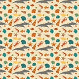 Sea animals background pattern. Vector flat style Royalty Free Stock Image