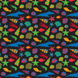 Sea animals background pattern. Vector flat style Royalty Free Stock Images