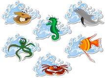 Sea animals. Blue water wave and cartoon sea animals Stock Image