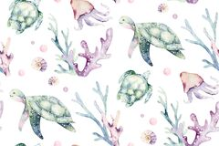 Sea animals blue watercolor ocean seamless pettern fish, turtle, whale and coral. Shell aquarium background. Nautical