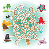 Sea animals, boats pirates. sea objects collection labyrinth game for Preschool Children. Vector Stock Image