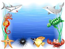 Sea Animals Cartoon Background. Funny Cartoon Sea Animals Background Royalty Free Stock Image