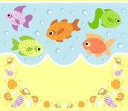 Sea animals cartoon background with fish. Sea animals cartoon background card with fish Royalty Free Stock Photo