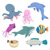 Sea animals cartoon set. Trendy design sea and ocean wildlife. Octopus, dolphin, shark, jellyfish, squid, striped color fish, blow. Sea animals cartoon set Stock Images
