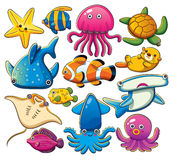 Sea Animals Collection Royalty Free Stock Photos