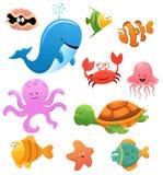 Sea Animals. Collection of cute little cartoon sea animals Stock Image