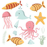 Sea Animals Collection Stock Photography