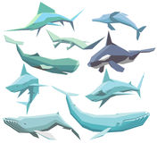 Sea animals collection. Vector set of isolated geometric polygon sea animals Stock Photo