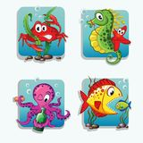 Sea animals. Crab, seahorse, starfish, octopus, fishes Stock Photos