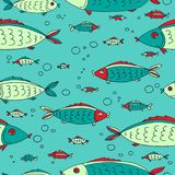 Sea animals-15. Cute fish seamless pattern. Design element for gift wrap, textile print or home decor. Hand drawn style stock illustration