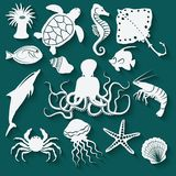 Sea animals and fish icons Stock Images
