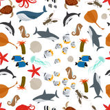 Sea animals flat style seamless pattern Royalty Free Stock Images