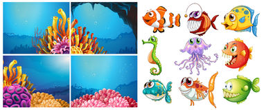 Sea animals and four scenes underwater Royalty Free Stock Image