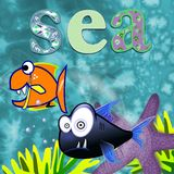 Sea Animals Fun Design for Children Stock Image