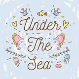 Sea animals hand drawing cartoons. Icon vector illustration graphic design cute and pastel colors, magical and beauty style Fantasy girl world Royalty Free Stock Images