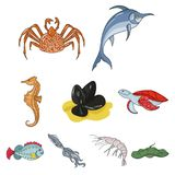 Sea animals icon in set collection on cartoon style vector symbol. Marine and river inhabitants. Fish, whales, octopuses.Sea animals icon in set collection on Stock Photo
